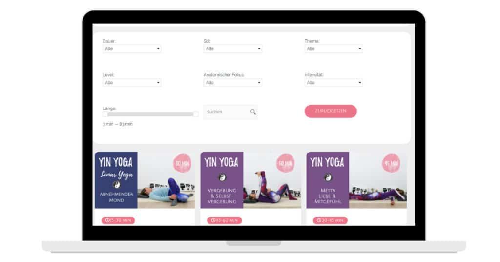 Yin Yoga Club Filterfunktion Mitgliederbereich